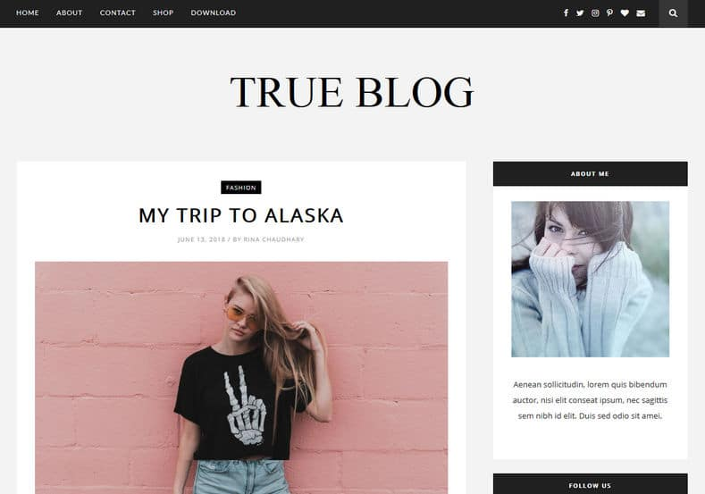 True Blog Blogger Template