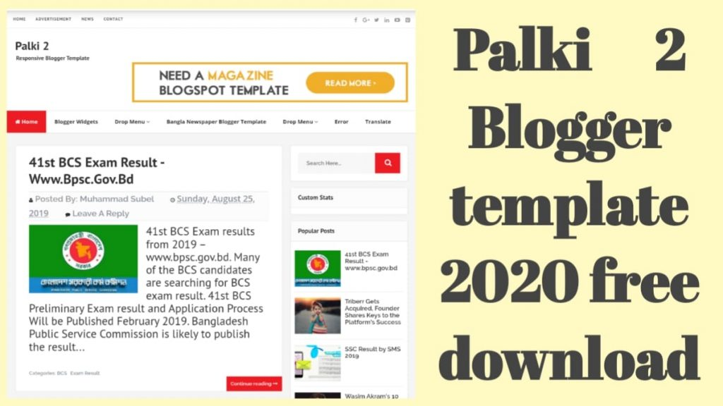 Palki 2 Blogger Template 2020 Free Download